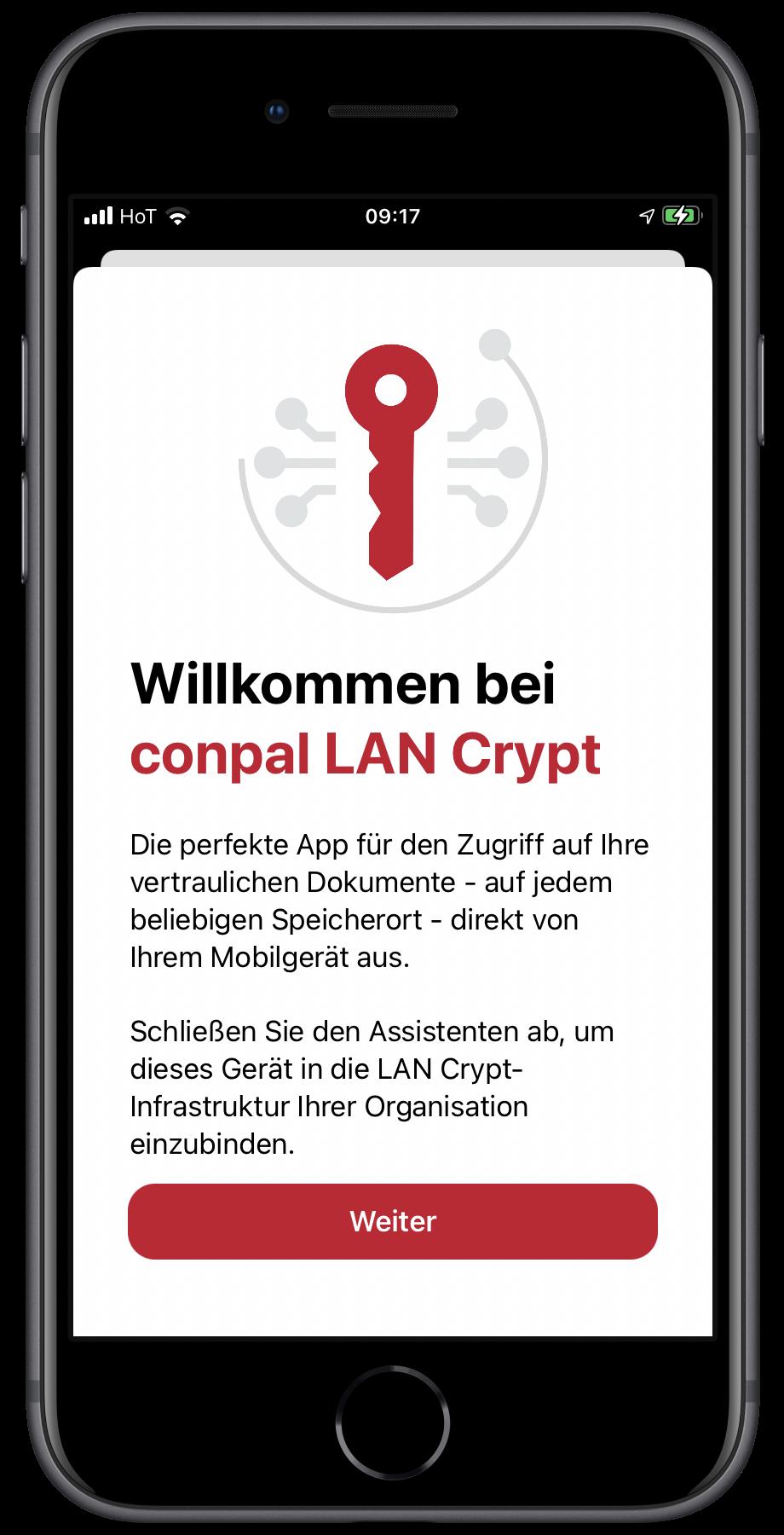 Screenshot conpal LAN Crypt für iOS