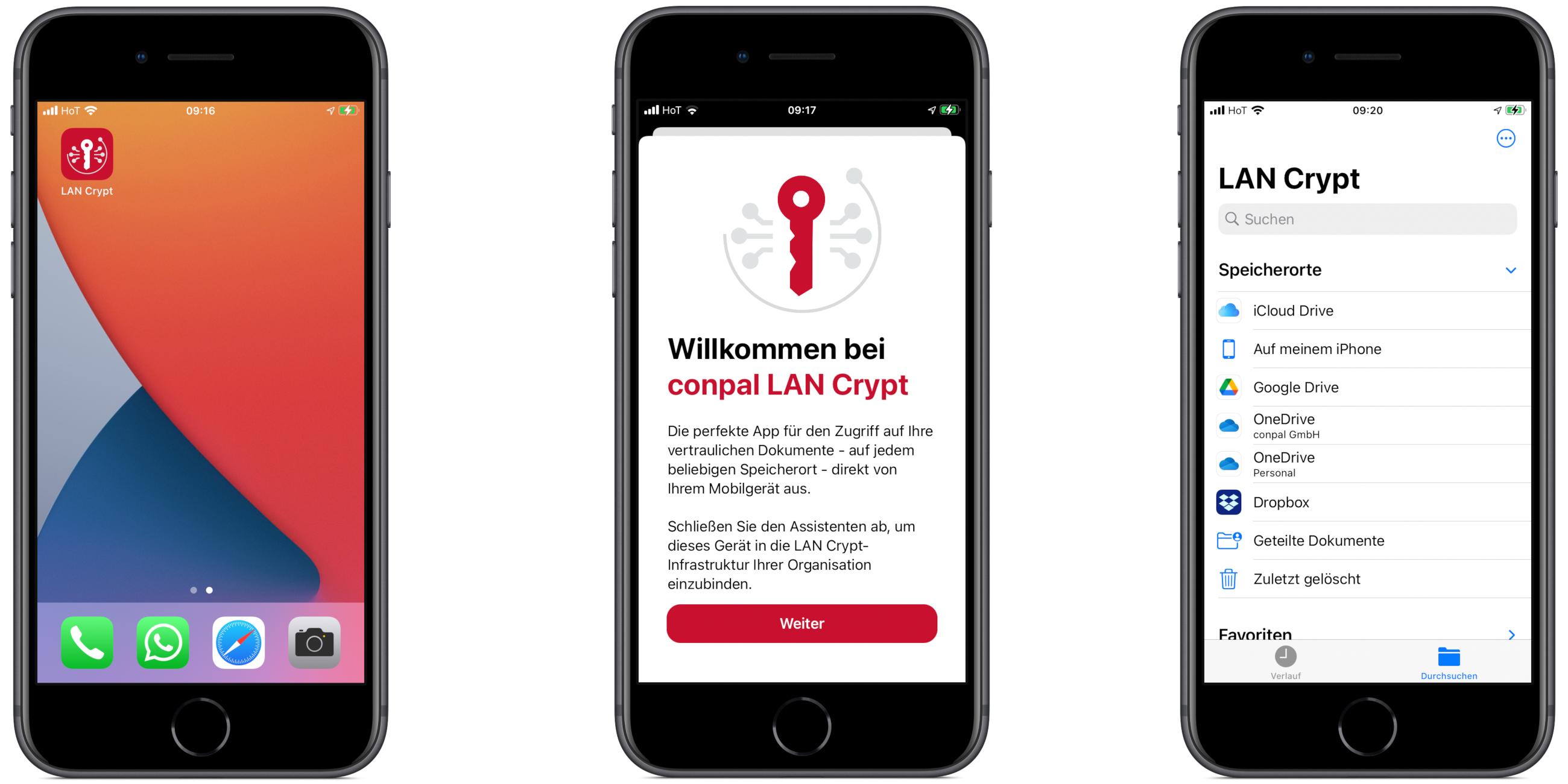 Screenshot conpal LAN Crypt ür iOS V1